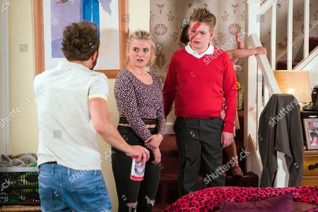 Ep 9496 Monday 2nd July 2018 - 1st Ep David Platt, as played by Jack P Shepherd, is furious with a rock star makeover Bethany Platt, as played by Lucy Fallon, gives Max Turner, as played by Harry McDermott.