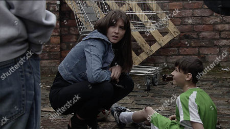 Ep 9495 Friday 29th June 2018 - 2nd Ep Jack, as played by Kyran Bowes, falls and grazes his knee playing football with Sophie Webster, as played by Brooke Vincent.