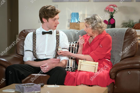 Ep 9495 Friday 29th June 2018 - 2nd Ep Flora, as played by Eileen Davies, retrieves her jewellery box and handing her mother's engagement ring urges Daniel Osbourne, as played by Rob Mallard, to propose to Sinead Tinker.