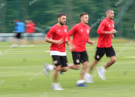 Serbia's players Branislav Ivanovic (L) attend a training session at the team base camp in Baltiya, Svetlogorsk, Kaliningrad region, Russia, 18 June 2018. Serbia will face Switzerland in the FIFA World Cup 2018 Group E preliminary round soccer match on 22 June 2018.