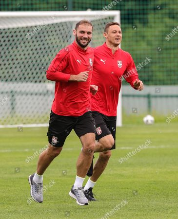 Serbia's players Branislav Ivanovic (L) and Nemanja Matic (R) attend a training session at the team base camp in Baltiya, Svetlogorsk, Kaliningrad region, Russia, 18 June 2018. Serbia will face Switzerland in the FIFA World Cup 2018 Group E preliminary round soccer match on 22 June 2018.