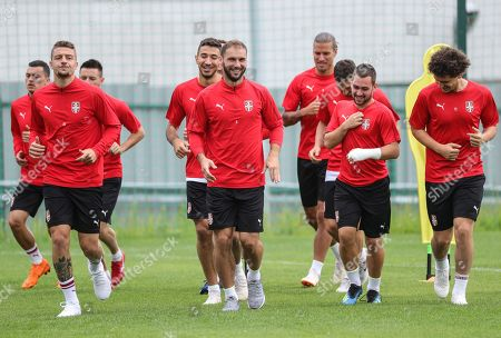 Serbia's Branislav Ivanovic (C) attends attends a training session at the team base camp in Baltiya, Svetlogorsk, Kaliningrad region, Russia, 18 June 2018. Serbia will face Switzerland in the FIFA World Cup 2018 Group E preliminary round soccer match on 22 June 2018.