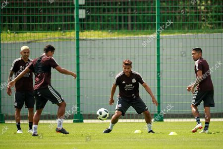 Mexico's players Jesus Corona (L), Javier Aquino (R), Jonathan dos Santos (2R) and Giovani Dos Santos attend a regenerative training session in Moscow, Russia, 18 June 2018. Mexico will face South Korea in the FIFA 2018 World Cup Group F soccer match at Rostov Arena on 23 June.