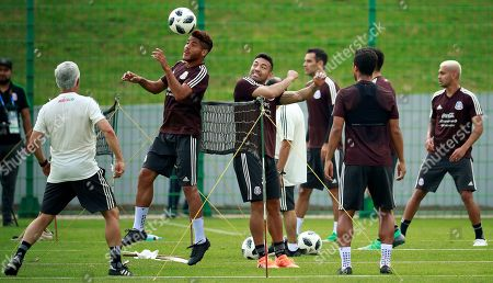Mexico's players Jonathan Dos Santos (2L), Marco Fabian (2R) and Giovani Dos Santos (R) attend a regenerative training session in Moscow, Russia, 18 June 2018. Mexico will face South Korea in the FIFA 2018 World Cup Group F soccer match at Rostov Arena on 23 June.