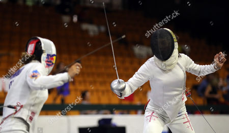 Rossella Fiamingo (L) of Italy in action against Maia Guchmazova (R) of Georgia during the women's Epee competition at the Fencing European Championships in Novi Sad, Serbia, 18 June 2018.