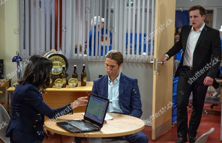 Stock Image of Ep 8182 & Ep 8183 Thursday 21st June 2018 Freddy, as played by Jamie Bacon, agrees to invest in Whingles and invites Belle to join his head office in London for a year - Lachlan White, as played by Thomas Atkinson, isn't pleased.