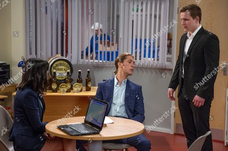 Stock Picture of Ep 8182 & Ep 8183 Thursday 21st June 2018 Freddy, as played by Jamie Bacon, agrees to invest in Whingles and invites Belle to join his head office in London for a year - Lachlan White, as played by Thomas Atkinson, isn't pleased.