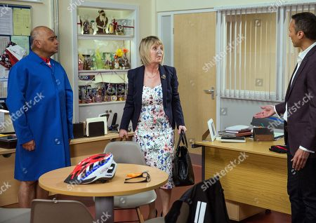 Stock Picture of Ep 8188 & Ep 8189 Tuesday 26th June 2018 Rishi Sharma, as played by Bhasker Patel, tries to impress Helen, as played by Joanne Zorian, by wearing a lycra cycling outfit. But will it do the trick?