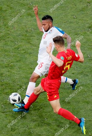 Eric Davis (L) of Panama and Thomas Meunier of Belgium in action during the FIFA World Cup 2018 group G preliminary round soccer match between Belgium and Panama in Sochi, Russia, 18 June 2018. (RESTRICTIONS APPLY: Editorial Use Only, not used in association with any commercial entity - Images must not be used in any form of alert service or push service of any kind including via mobile alert services, downloads to mobile devices or MMS messaging - Images must appear as still images and must not emulate match action video footage - No alteration is made to, and no text or image is superimposed over, any published image which: (a) intentionally obscures or removes a sponsor identification image; or (b) adds or overlays the commercial identification of any third party which is not officially associated with the FIFA World Cup)
