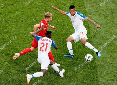 Eric Davis (R) of Panama in action during the FIFA World Cup 2018 group G preliminary round soccer match between Belgium and Panama in Sochi, Russia, 18 June 2018. (RESTRICTIONS APPLY: Editorial Use Only, not used in association with any commercial entity - Images must not be used in any form of alert service or push service of any kind including via mobile alert services, downloads to mobile devices or MMS messaging - Images must appear as still images and must not emulate match action video footage - No alteration is made to, and no text or image is superimposed over, any published image which: (a) intentionally obscures or removes a sponsor identification image; or (b) adds or overlays the commercial identification of any third party which is not officially associated with the FIFA World Cup)