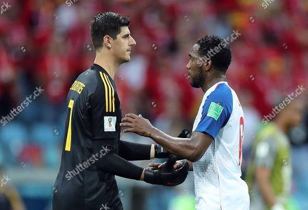 Goalkeeper Thibaut Courtois of Belgium and Luis Tejada of Panama