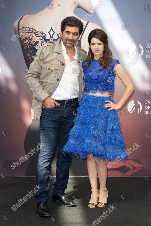 Stock Picture of Abdelhafid Metalsi and Aurore Erguy from the series 'Cherif' attend a photocall during attends a photocall during the 58th Monte Carlo TV Festival