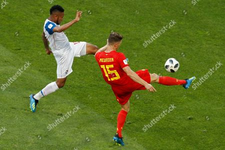 Belgium's Thomas Meunier, right, and Panama's Eric Davis fight for the ball during the group G match between Belgium and Panama at the 2018 soccer World Cup in the Fisht Stadium in Sochi, Russia