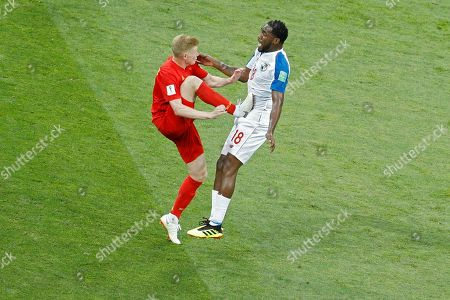 Panama's Luis Tejada, right is faulted by Belgium's Kevin De Bruyne during the group G match between Belgium and Panama at the 2018 soccer World Cup in the Fisht Stadium in Sochi, Russia, . Belgium won 3-0