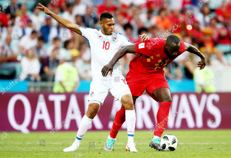 Ismael Diaz of Panama and Romelu Lukaku of Belgium.