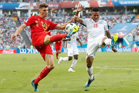 Belgium's Thomas Meunier, left, and Panama's Eric Davis fight for the ball during the group G match between Belgium and Panama at the 2018 soccer World Cup in the Fisht Stadium in Sochi, Russia