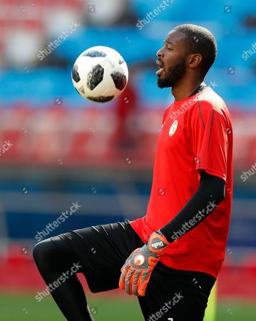 Senegal goalkeeper Abdoulaye Diallo control the ball during Senegal's official training on the eve of the group H match between Poland and Senegal at the 2018 soccer World Cup in the Spartak Stadium in Moscow, Russia