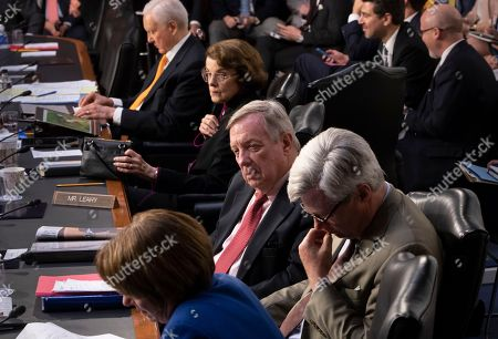 Orrin Hatch, Dianne Feinstein, Dick Durbin, Sheldon Whitehouse, Amy Klobuchar. Members of the Senate Judiciary Committee, from top to bottom, Sen. Orrin Hatch, R-Utah, Sen. Dianne Feinstein, D-Calif., the ranking member, Sen. Dick Durbin, D-Ill., Sen. Sheldon Whitehouse, D-R.I., and Sen. Amy Klobuchar, D-Minn., listen as the panel hears from Justice Department Inspector General Michael Horowitz and FBI Director Christopher Wray on the internal report of the FBI's Hillary Clinton email probe and the role of former FBI Director James Comey's actions during the 2016 presidential campaign, on Capitol Hill in Washington