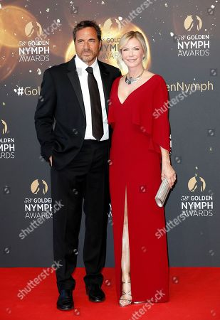 US actors Thorsten Kaye (L) and Katherine Kelly Lang (R) pose on the red carpet while arriving for the closing ceremony of the 58th Monte Carlo Television Festival in Monaco, 19 June 2018. The event will take place from 15 to 19 June.