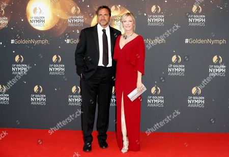 Stock Picture of US actors Thorsten Kaye (L) and Katherine Kelly Lang (R) pose on the red carpet while arriving for the closing ceremony of the 58th Monte Carlo Television Festival in Monaco, 19 June 2018. The event will take place from 15 to 19 June.