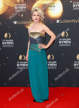 Irish actress Sinead Keenan poses on the red carpet while arriving for the closing ceremony of the 58th Monte Carlo Television Festival in Monaco, 19 June 2018. The event will take place from 15 to 19 June.
