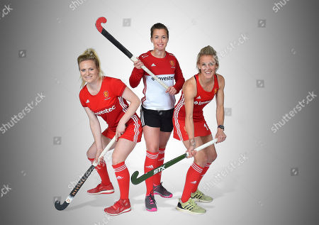 Stock Picture of Maddie Hinch. hockey Feature England Women's Team.Hollie Webb Maddie Hinch And Alex Danson Of The England Women's Hocky Team. The Top Three Teams In The World Do Battle In London England Women Take On Investec Internationals Vs Holland & Argentina At The Weekend.