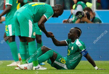 Sadio Mane of Senegal and Moussa Konate of Senegal