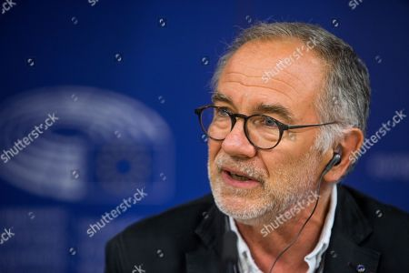 Eric Andrieu, Chair of the Special Committee on the Union's authorisation procedure for pesticides, during a press conference with and European Union Commissioner for Health and Food Safety Vytenis Andriukaitis (not pictured) on EU Authorisation of Plant Protection Products (PPPs, also referred to as 'pesticides') at the European Parliament in Brussels, Belgium, 19 June 2018.