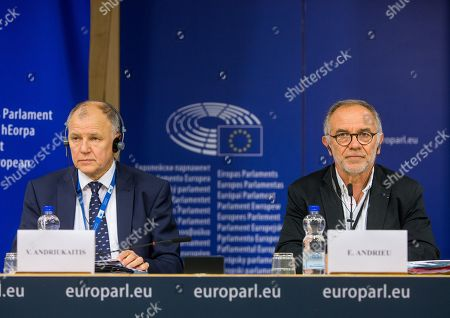 Eric Andrieu (R), Chair of the Special Committee on the Union's authorisation procedure for pesticides, and European Union Commissioner for Health and Food Safety Vytenis Andriukaitis (L) at the start of a press conference on EU Authorisation of Plant Protection Products (PPPs, also referred to as 'pesticides') at the European Parliament in Brussels, Belgium, 19 June 2018.