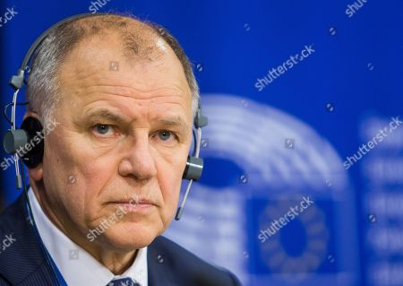 European Union Commissioner for Health and Food Safety Vytenis Andriukaitis during a press conference with Eric Andrieu, Chair of the Special Committee on the Union's authorisation procedure for pesticides (not pictured) on EU Authorisation of Plant Protection Products (PPPs, also referred to as 'pesticides') at the European Parliament in Brussels, Belgium, 19 June 2018.