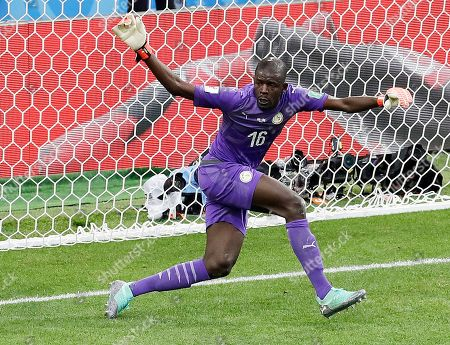 Senegal goalkeeper Khadim Ndiaye reacts during the group H match between Poland and Senegal at the 2018 soccer World Cup in the Spartak Stadium in Moscow, Russia