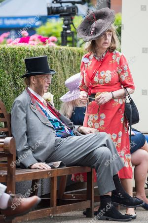 Former race commentator John McCririck and his wife Jenny McCririck attend day one of Royal Ascot at Ascot racecourse in Berkshire