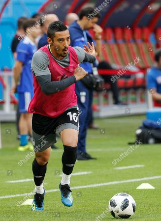Iran national soccer team player Reza Ghoochannejhad attend a training session at the  Kazan Arena stadium in Kazan, Russia, 19 June 2018. Iran will face Spain in the FIFA World Cup 2018 Group B preliminary round soccer match on 20 June 2018.