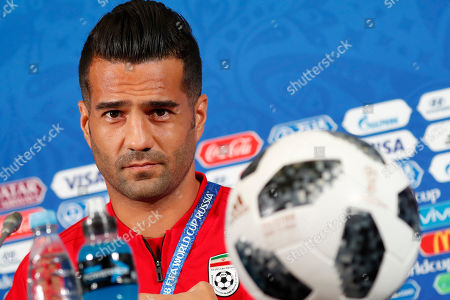 Iran's midfielder Masoud Shojaei during a press conference at the Kazan Arena stadium in Kazan, Russia, 19 June 2018. Iran will face Spain in the FIFA World Cup 2018 Group B preliminary round soccer match  on 20 June 2018.