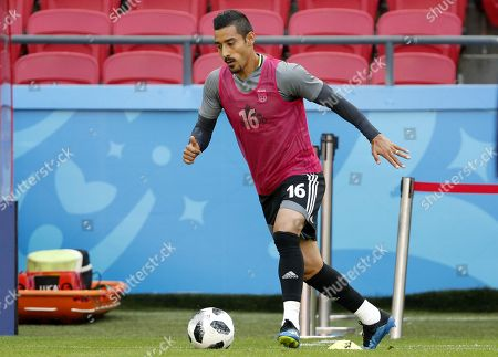Iran national soccer team player Reza Ghoochannejhad in action during a training session at the Kazan Arena stadium in Kazan, Russia, 19 June 2018. Iran will face Spain in the FIFA World Cup 2018 Group B preliminary round soccer match on 20 June 2018.