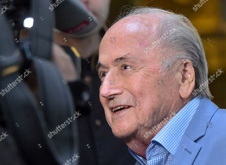 Former FIFA President Joseph Blatter arrives at a hotel in Moscow, Russia, . Suspended former FIFA president Sepp Blatter has arrived in Moscow for a World Cup visit at the invitation of Russian President Vladimir Putin