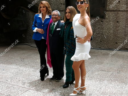 Stock Image of Guadalupe Pineda, Armando Manzanero, Tania Libertad, Filippa Giordano. Mexican musicians Guadalupe Pineda, from left to right, Armando Manzanero, Tania Libertad and Filippa Giordano, pose for a photo during a press conference in Mexico City, . The artists will perform a concert on Sept. 19, 2018 marking the first anniversary of a devastating earthquake, to benefit communities in Mexico's Oaxaca state