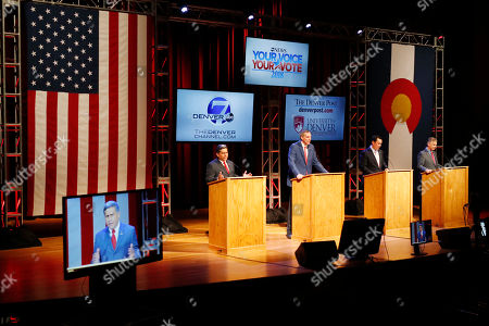 Victor Mitchell, Walker Stapleton, Greg Lopez, Doug Robinson. From left, Republican candidates for Colorado's governorship, Greg Lopez, Doug Robinson, Walker Stapleton, Victor Mitchell take part in a televised debate, in Denver. Colorado's primary election to determine which candidate will earn the Republican nomination is set for next Tuesday, June 26