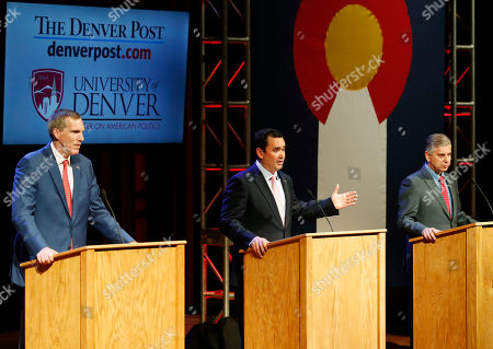 Victor Mitchell, Walker Stapleton, Doug Robinson. From left, Republican candidates for Colorado's governorship, Doug Robinson, Walker Stapleton and Victor Mitchell take part in a televised debate, in Denver. Colorado's primary election to determine which candidate will earn the Republican nomination is set for next Tuesday, June 26