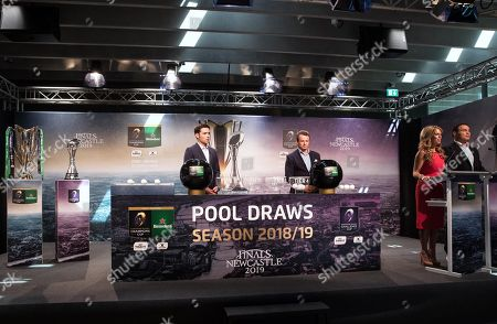 Dimitri Yachvili, BeIN Sports, Austin Healey, BT Sports and comperes Sarra Elgan and Raphaël Ibañez during the draw