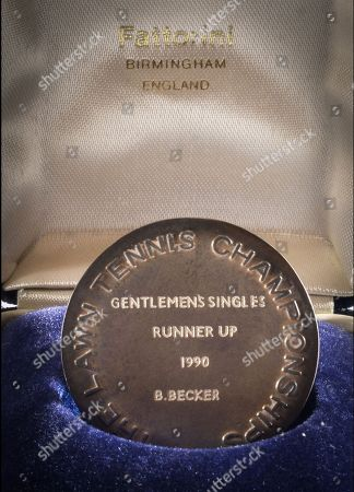 Becker's Wimbledon 1990 runners-up medal following his epic five set loss to his great rival Stefan Edberg.