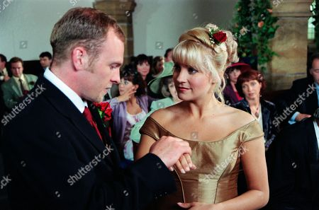 Ep 2559  Thursday 5th August 1999 Graham is determined to break up Kathy and Biff's wedding day, confronting Biff and telling him that Kathy has feelings for him. Kathy though is convinced from that incident that she should marry Biff. As Graham shows up during the vows, Biff begins to have doubts and decides Kathy isn't committed to him. He jilts her at the altar, leaving Kathy traumatised. With Biff Fowler, as played by Stuart Wade ; Kathy Glover by Malandra Burrows ; Caroline Bates, as played by Diana Davies.