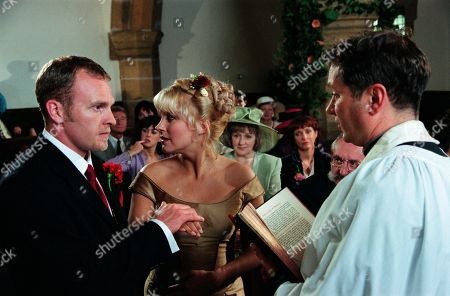 Ep 2559  Thursday 5th August 1999 Graham is determined to break up Kathy and Biff's wedding day, confronting Biff and telling him that Kathy has feelings for him. Kathy though is convinced from that incident that she should marry Biff. As Graham shows up during the vows, Biff begins to have doubts and decides Kathy isn't committed to him. He jilts her at the altar, leaving Kathy traumatised. With Biff Fowler, as played by Stuart Wade ; Kathy Glover by Malandra Burrows ; Seth Armstrong, as played by Stan Richards ; Rev Ashley Thomas, as played by John Middleton ; Caroline Bates, as played by Diana Davies.