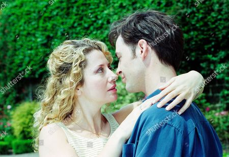Stock Image of Ep 2557 Tuesday 3rd August 1999 Stella has Gavin on her mind. And it's not long before their passion gets the better of them - With Gavin Ferris, as played by Robert Beck, Stella Jones, as played by Stephanie Schonfield.