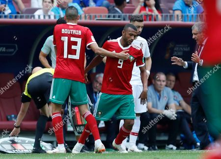 Morocco's Khalid Boutaib is substituted by Ayoub El Kaabi during the group B match between Portugal and Morocco at the 2018 soccer World Cup in the Luzhniki Stadium in Moscow, Russia