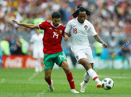 Gelson Martins of Portugal and Mbark Boussoufa of Morocco