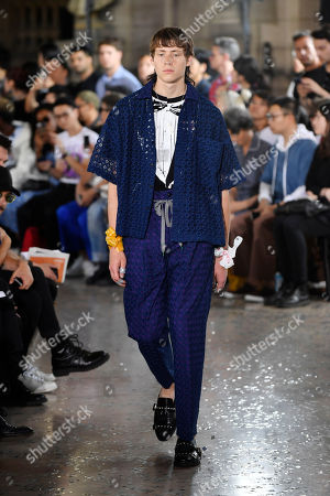 A model presents a creation from the Spring/Summer 2019 men's Collection by Japanese designer Hiromichi Ochiai for Facetasm during the Paris Fashion Week, in Paris, France, 20 June 2018. The presentation of the Men's collections runs from 19 to 24 June.