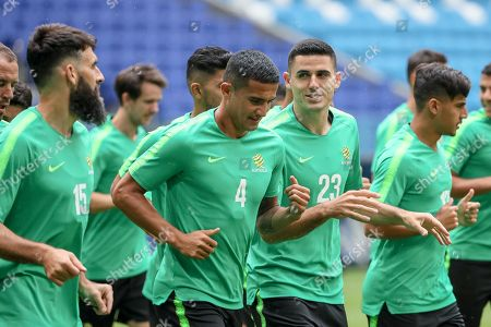 (L-R)  Australia's players Mile Jedinak, Tim Cahill, Tom Rogic, and Daniel Arzani attend a training session at the Cosmos Arena in Samara, Russia, 20 June 2018. Australia will face Denmark in the FIFA World Cup 2018 Group C preliminary round soccer match on 21 June 2018.
