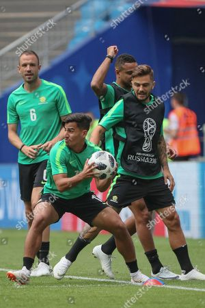 Daniel Arzani of Australia (C) attends a training session at the Cosmos Arena in Samara, Russia, 20 June 2018. Australia will face Denmark in the FIFA World Cup 2018 Group C preliminary round soccer match on 21 June 2018.