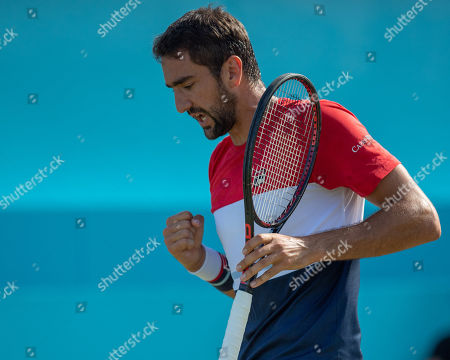 Marin Cilic (CRO) celebrates a winning point in his match with Gilles Muller (LUX).  Fever-Tree Tennis Championships, Queens Tennis Club, London, England, 20th June 2018.